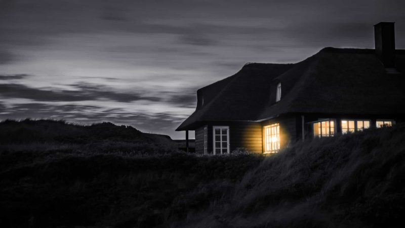 Lit up house at night